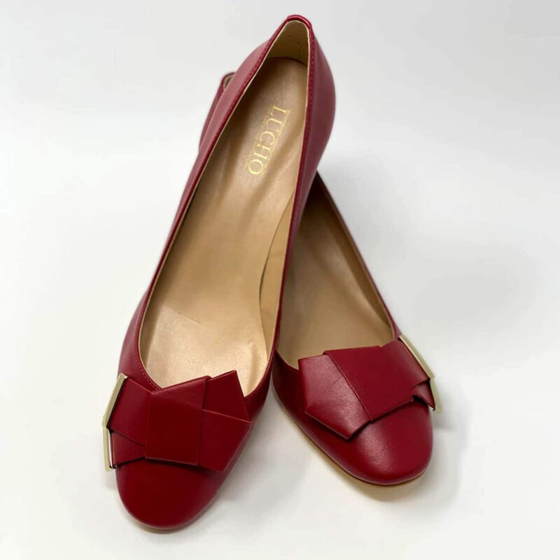 Red Napa Round Heel
