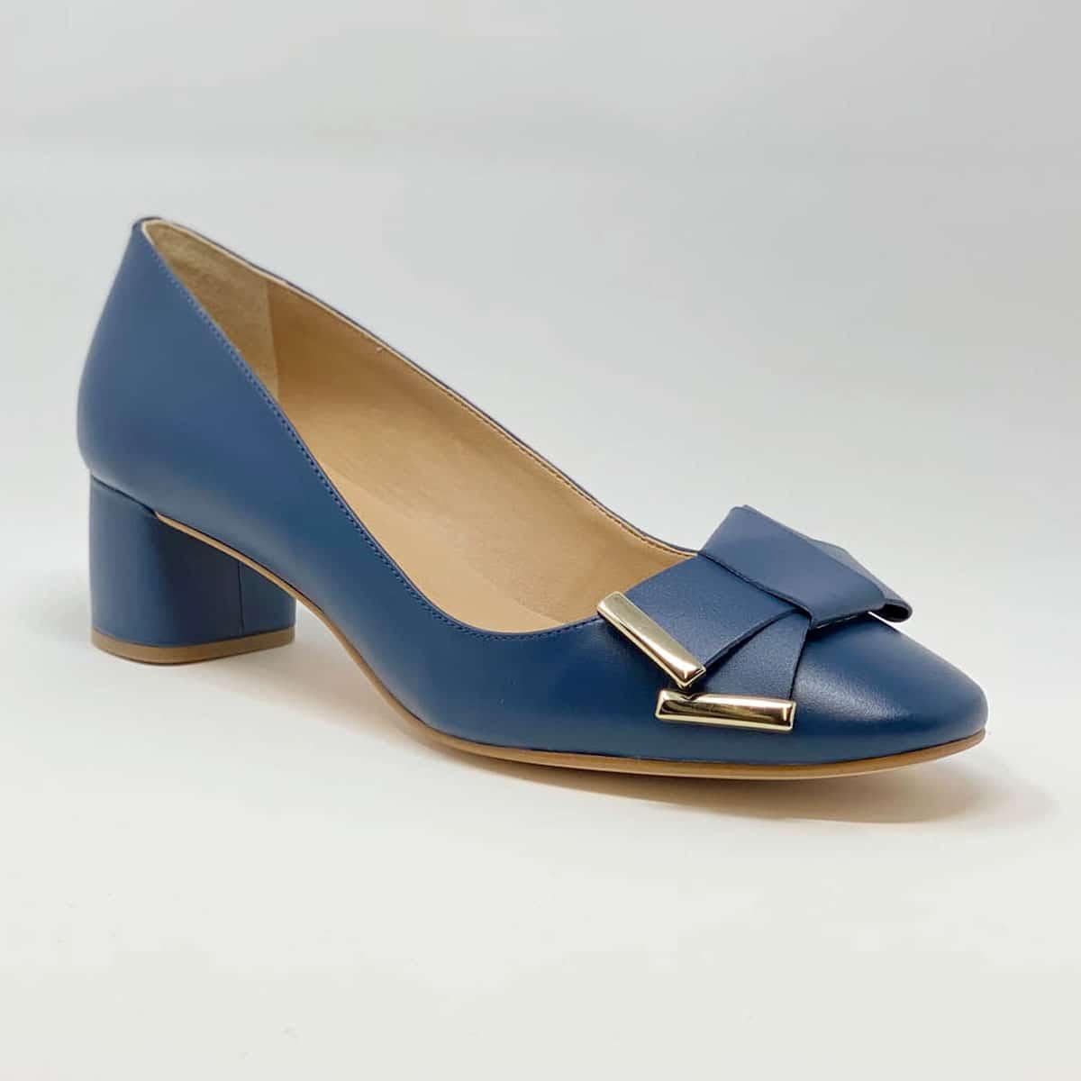 Indigo Blue Napa Round Heel