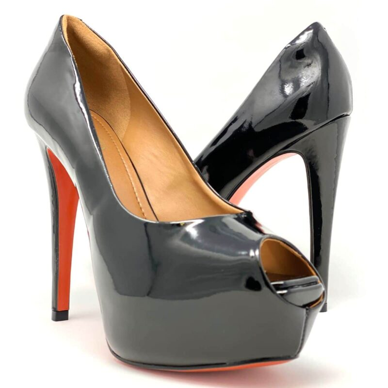 Black Leather Peep Toe Platform Lucho 05